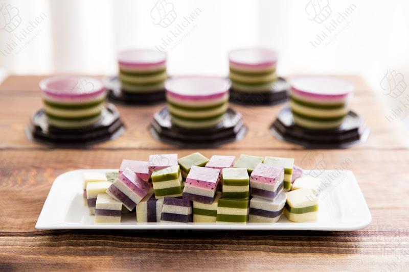 Rau câu phô mai trà xanh và rau câu phô mai việt quất